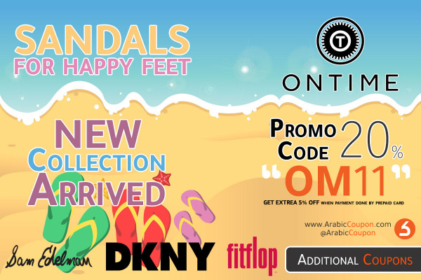 The latest sandals collection in Ontime with additional coupon code